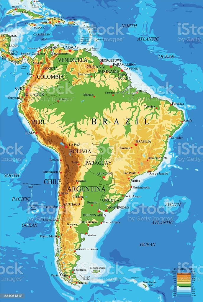 South Americaphysical Map Stock Vector Art & More Images of ...