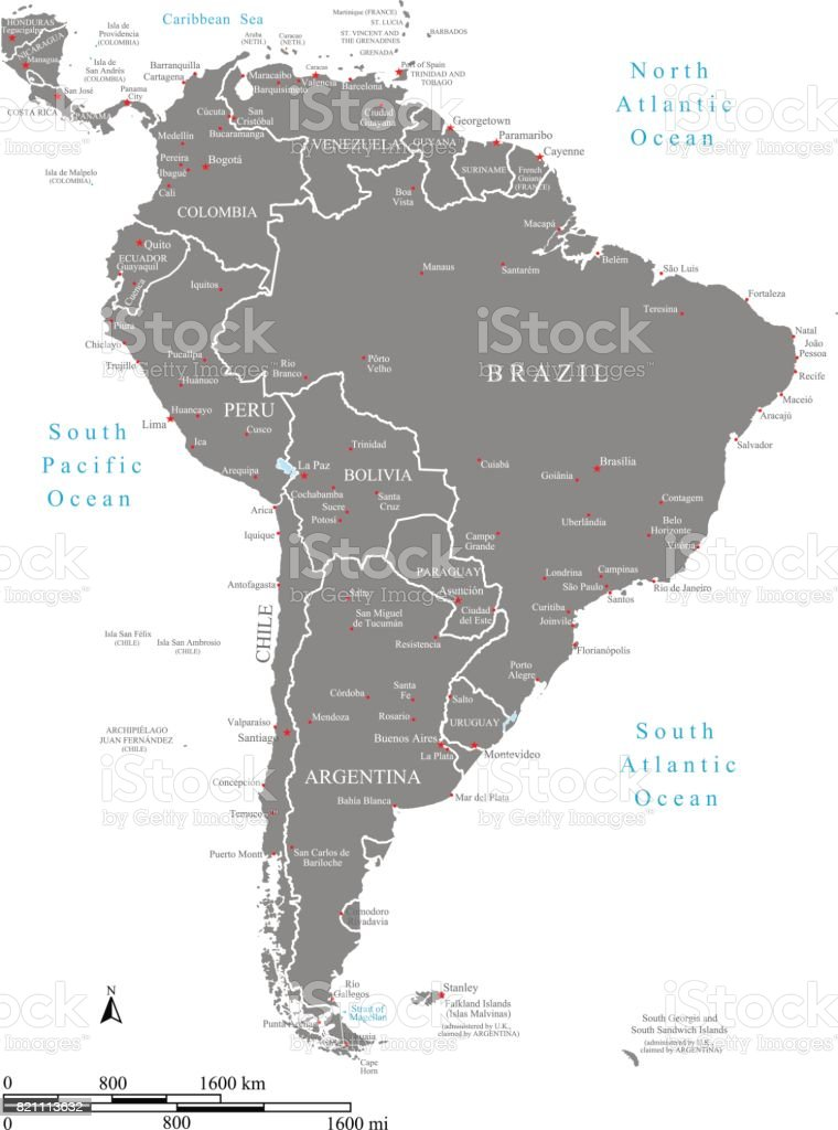 South and Central America map vector outline with scales, countries borders, capitals, major cities, and names vector art illustration