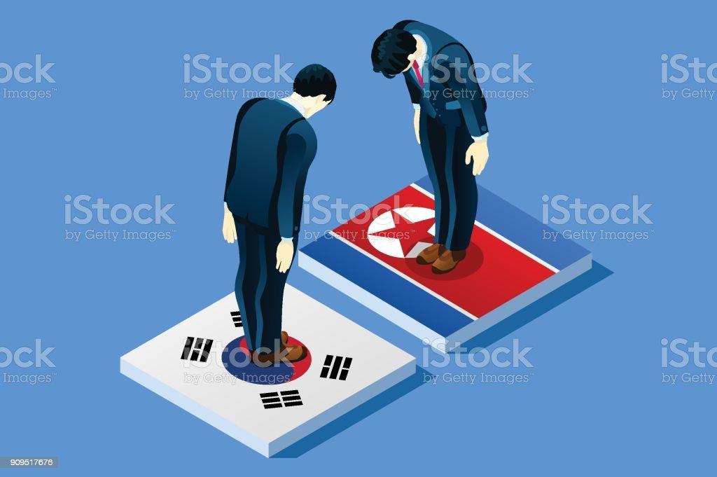 韓国と北朝鮮の平和ベクトル ベクターアートイラスト