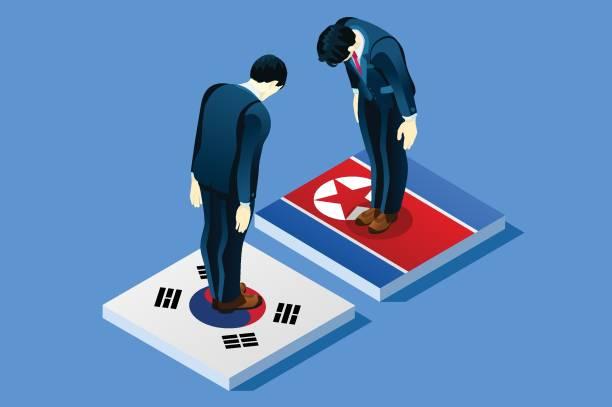 ilustrações, clipart, desenhos animados e ícones de do sul e coreia do norte paz vector - bandeira da coreia