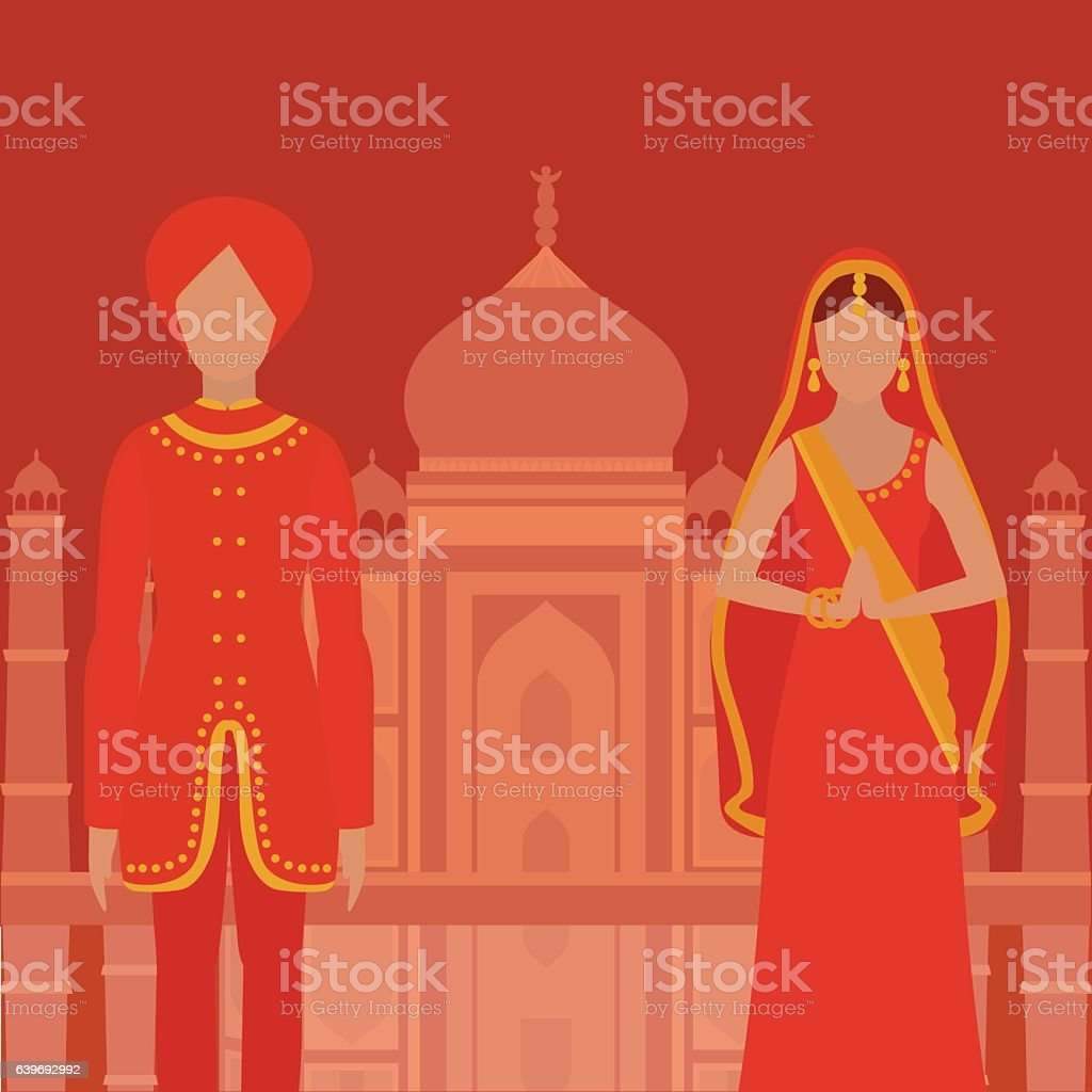 South Asia beautiful woman and man wearing indian traditional cloth, vector art illustration