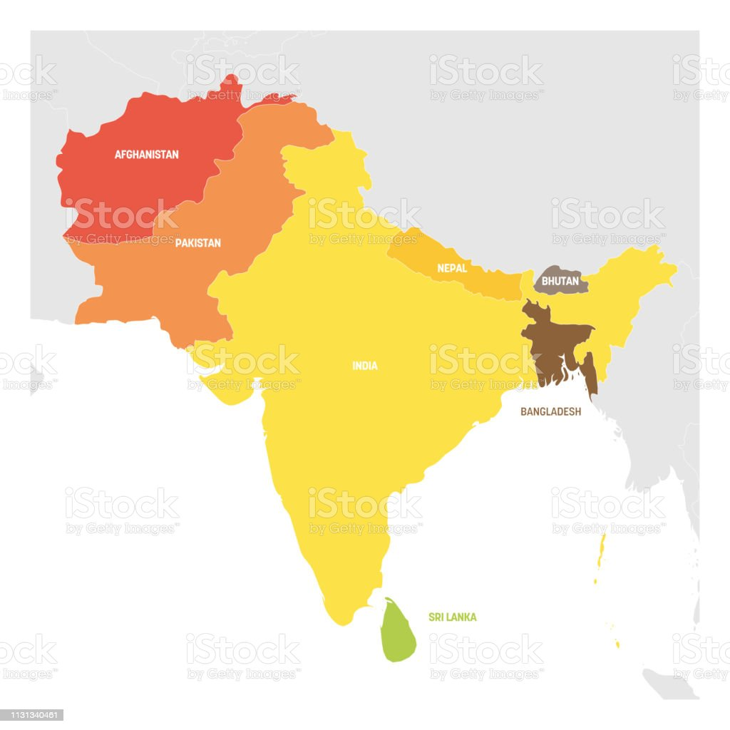 South Asia Region Colorful Map Of Countries In Southern Asia Vector Illustration Stock Illustration Download Image Now Istock