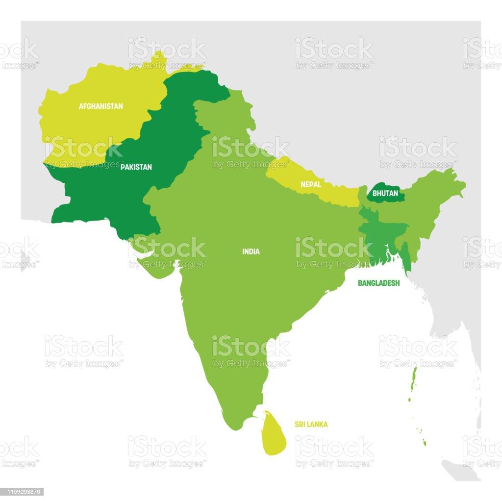 Südasien Karte.Region Südasien Karte Der Länder In Südasien Vektorillustration