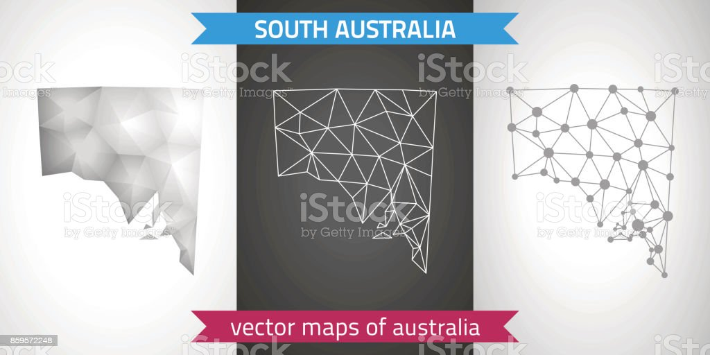 3d Map Of South Australia.South Australia Set Of Grey And Silver Mosaic 3d Polygonal Maps