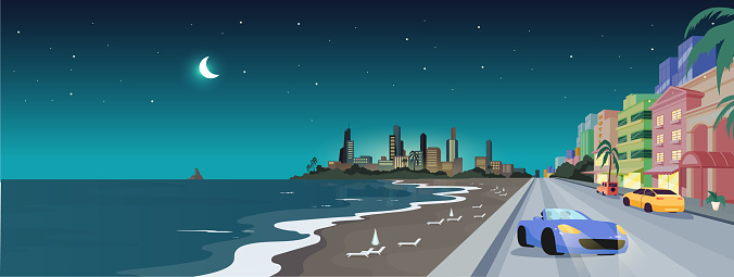 South beach at night flat color vector illustration. Summer holiday in Florida. Panorama of Miami summer coast. Ocean drive. Tropical vacation 2D cartoon landscape with skyline on background