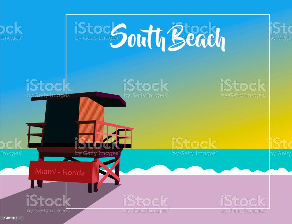 South Beach Miami vector art illustration