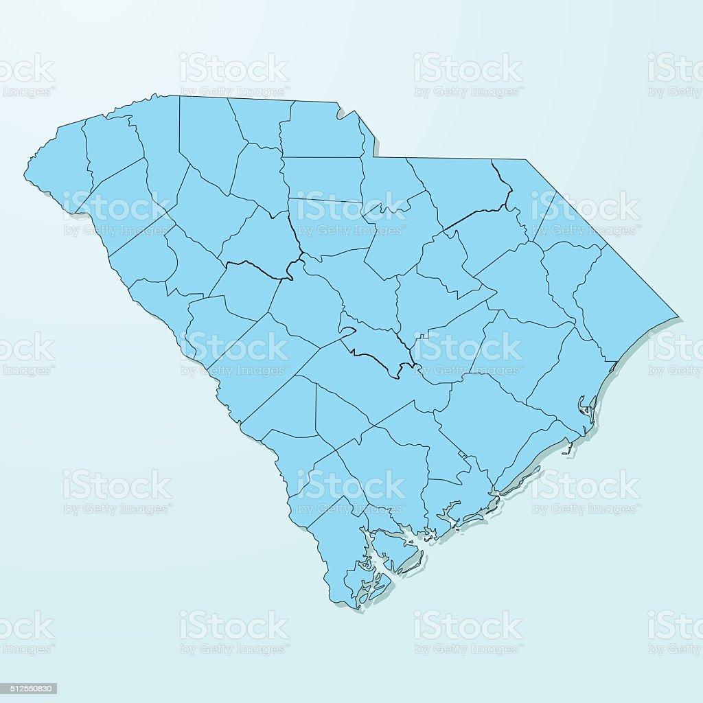 South Carolina blue map on degraded background vector vector art illustration