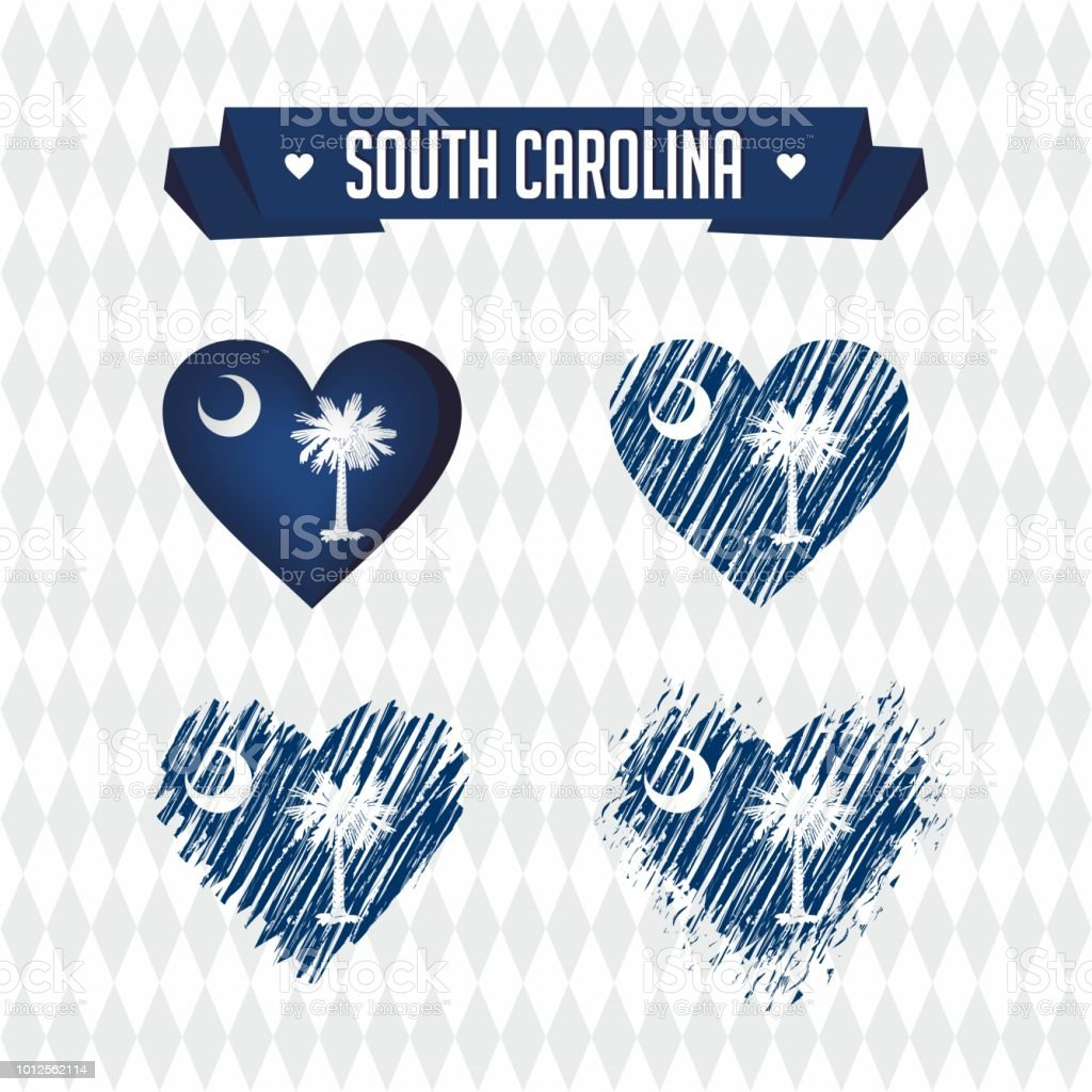 South Carolina Collection Of Four Vector Hearts With Flag Heart