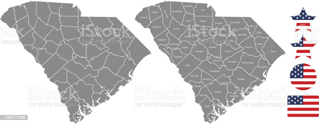 South Carolina County Map Vector Outline In Gray Background ...