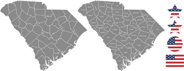 ilustraciones, imágenes clip art, dibujos animados e iconos de stock de carolina del sur esquema de vectores del condado mapa en fondo gris. mapa de estado de estados unidos de carolina del sur con nombres de condados etiquetados y diseños de ilustración de vector de estados unidos bandera icono - zona urbana