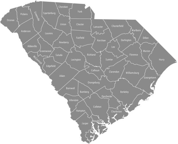 South Carolina county map vector outline with counties names labeled in gray background All counties have separate borders that are accurately prepared and are also selectable and editable. spartanburg stock illustrations