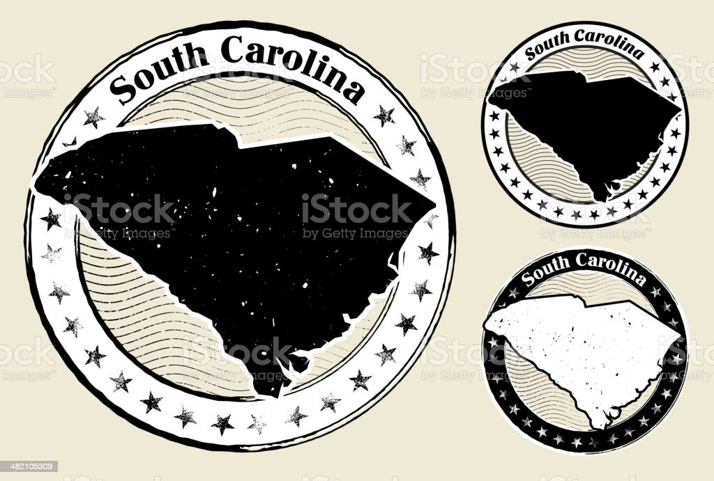 South Carolina Grunge Map Black & White Stamp Collection royalty-free stock vector art
