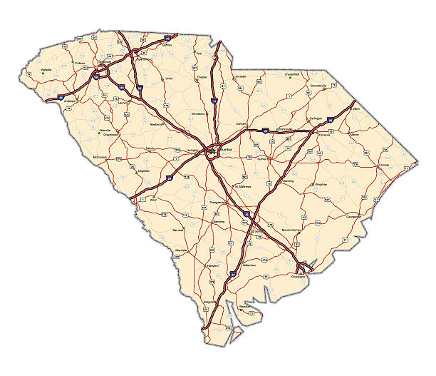 South Carolina Highway Map Highway map of the state of South Carolina with Interstates and US Routes.  It also has the  state routes (labeled) and all county seats (cities) plus the State capitol.   south carolina stock illustrations