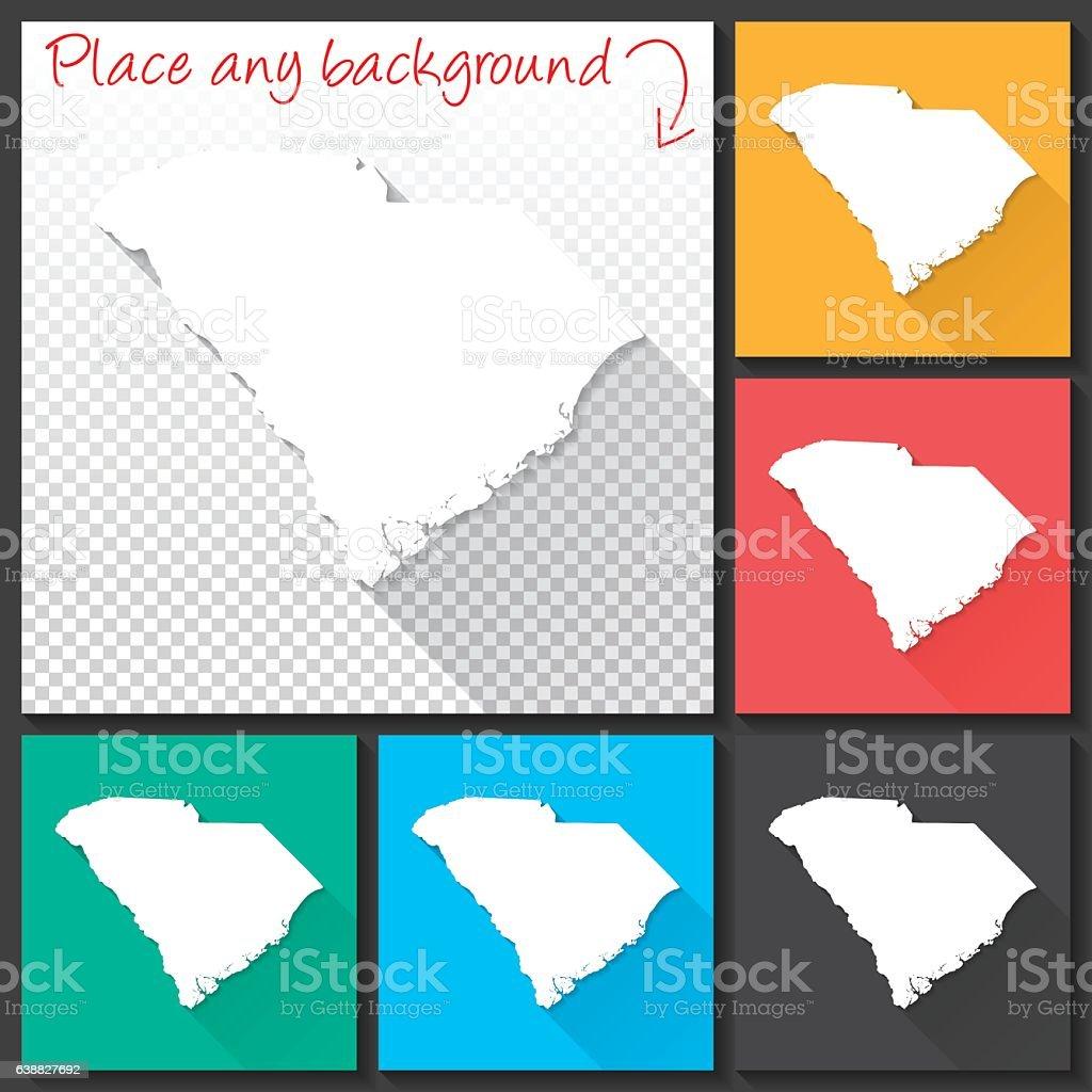 South Carolina Map for design, Long Shadow, Flat Design vector art illustration