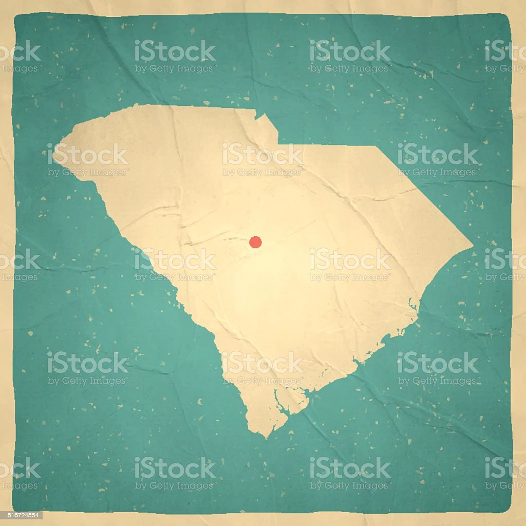 Vintage South Carolina Map.South Carolina Map On Old Paper Vintage Texture Stock Vector Art