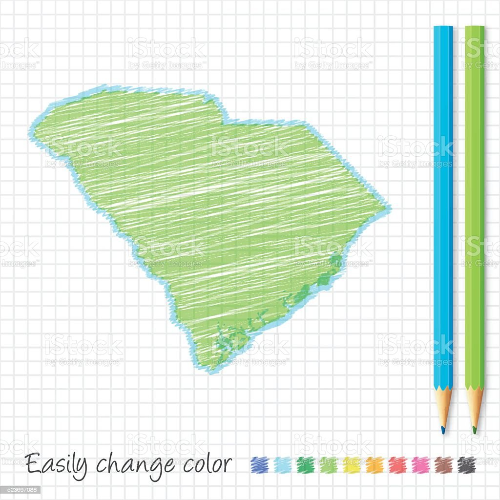 South Carolina map sketch with color pencils, on grid paper vector art illustration