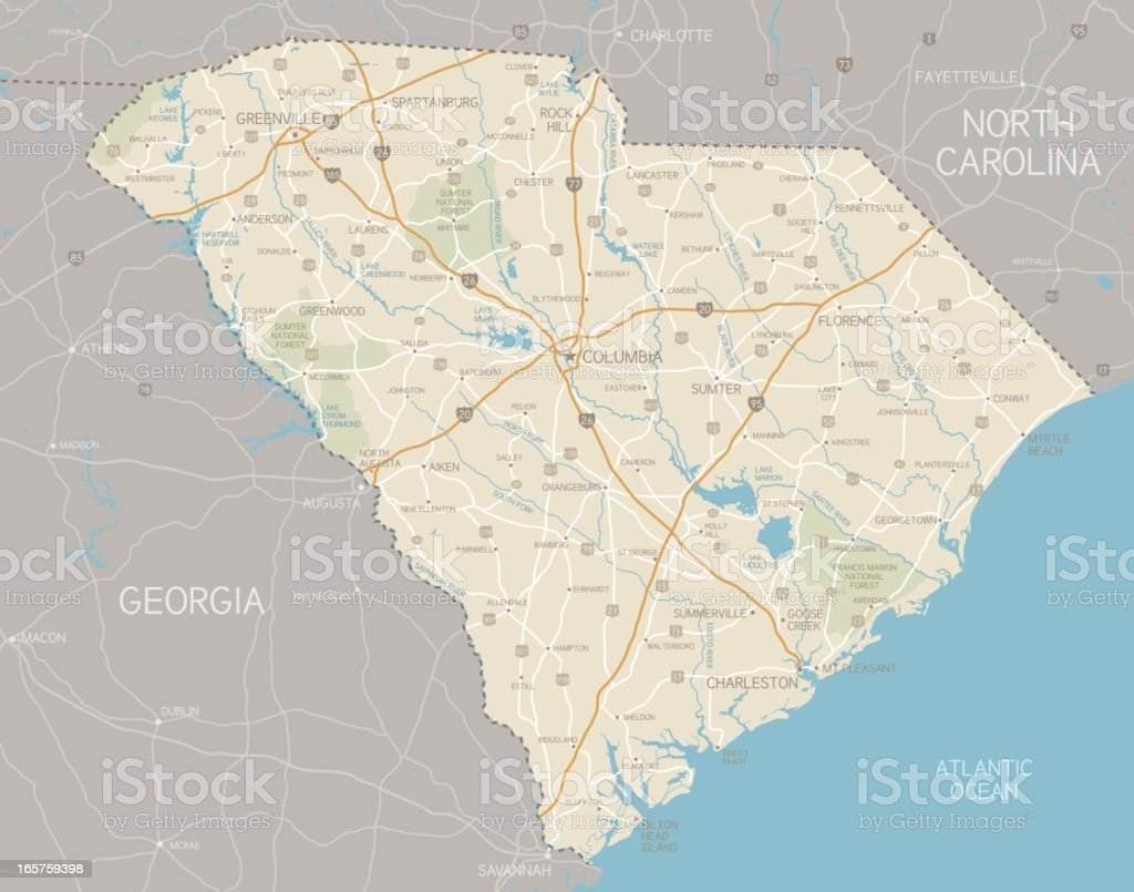 South Carolina Map Stock Vector Art IStock - South carolina road maps