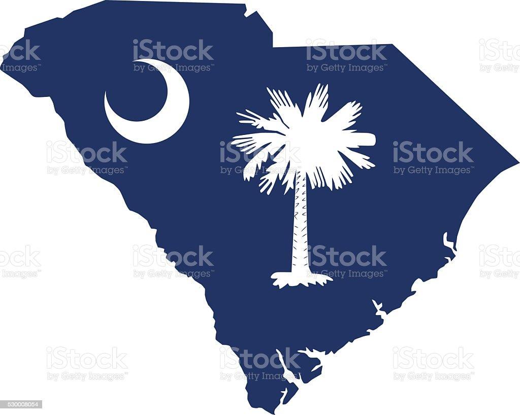 South Carolina Map vector art illustration