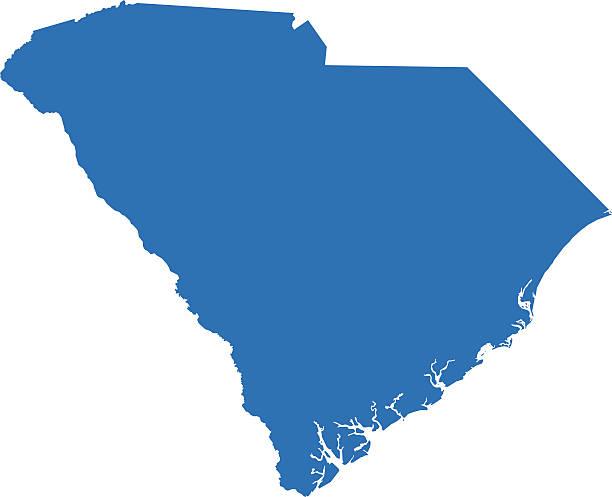 South Carolina mapy – artystyczna grafika wektorowa