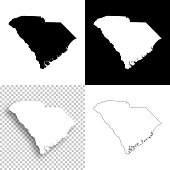 South Carolina maps for design - Blank, white and black backgrounds