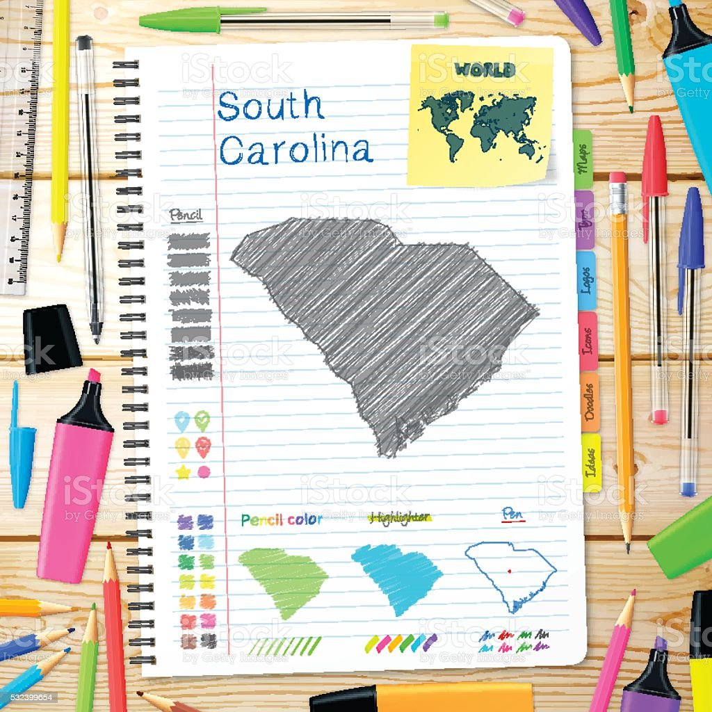 South Carolina maps hand drawn on notebook. Wooden Background vector art illustration