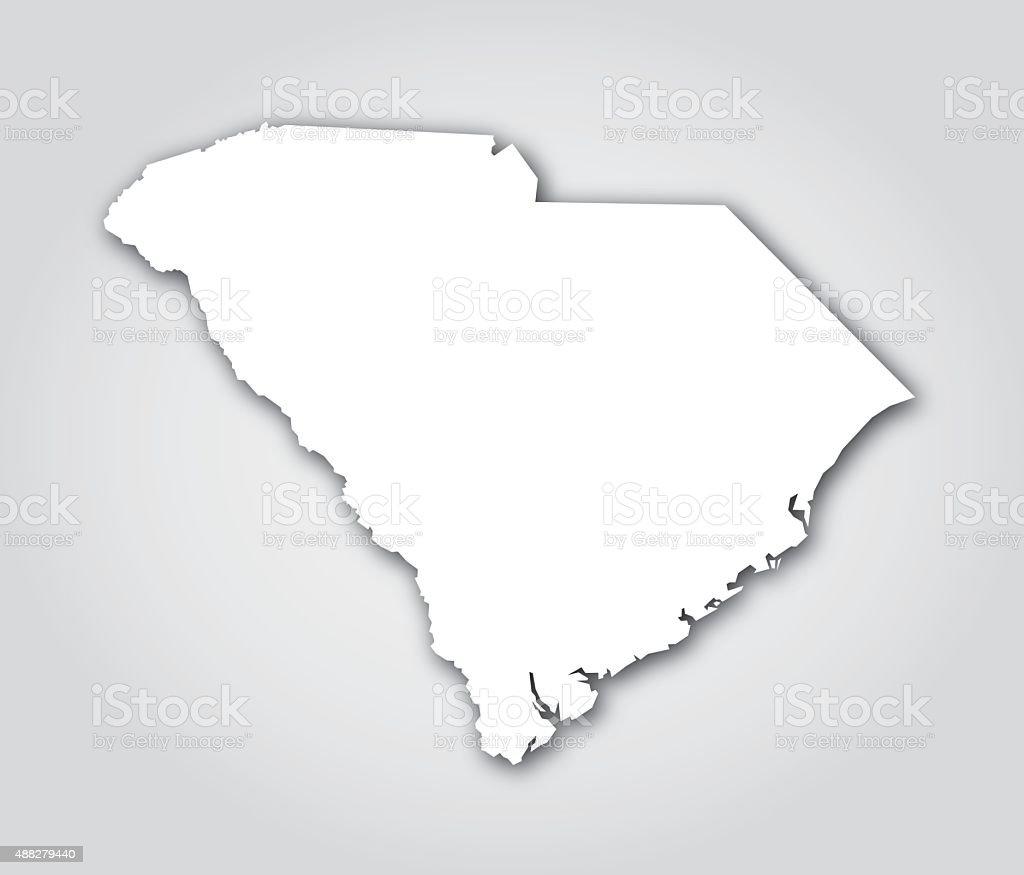 South Carolina Silhouette White vector art illustration