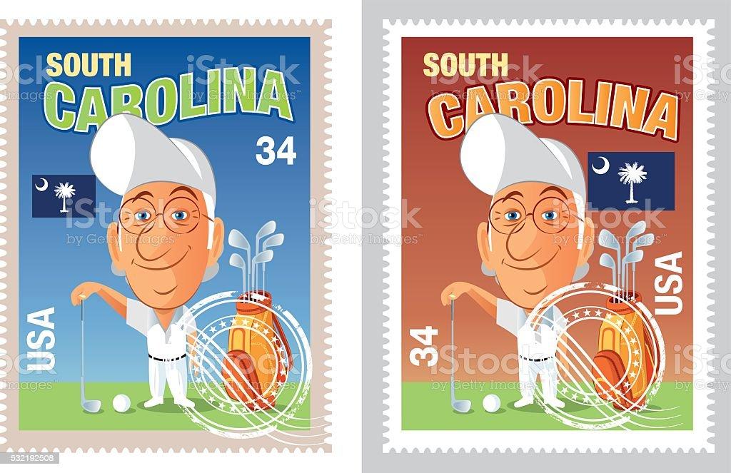 South Carolina Stamp vector art illustration