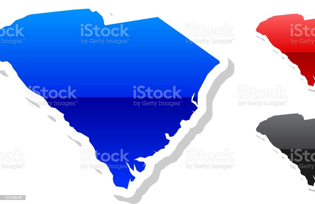 South Carolina state buttroyalty-free vector art in 3 colors royalty-free stock vector art