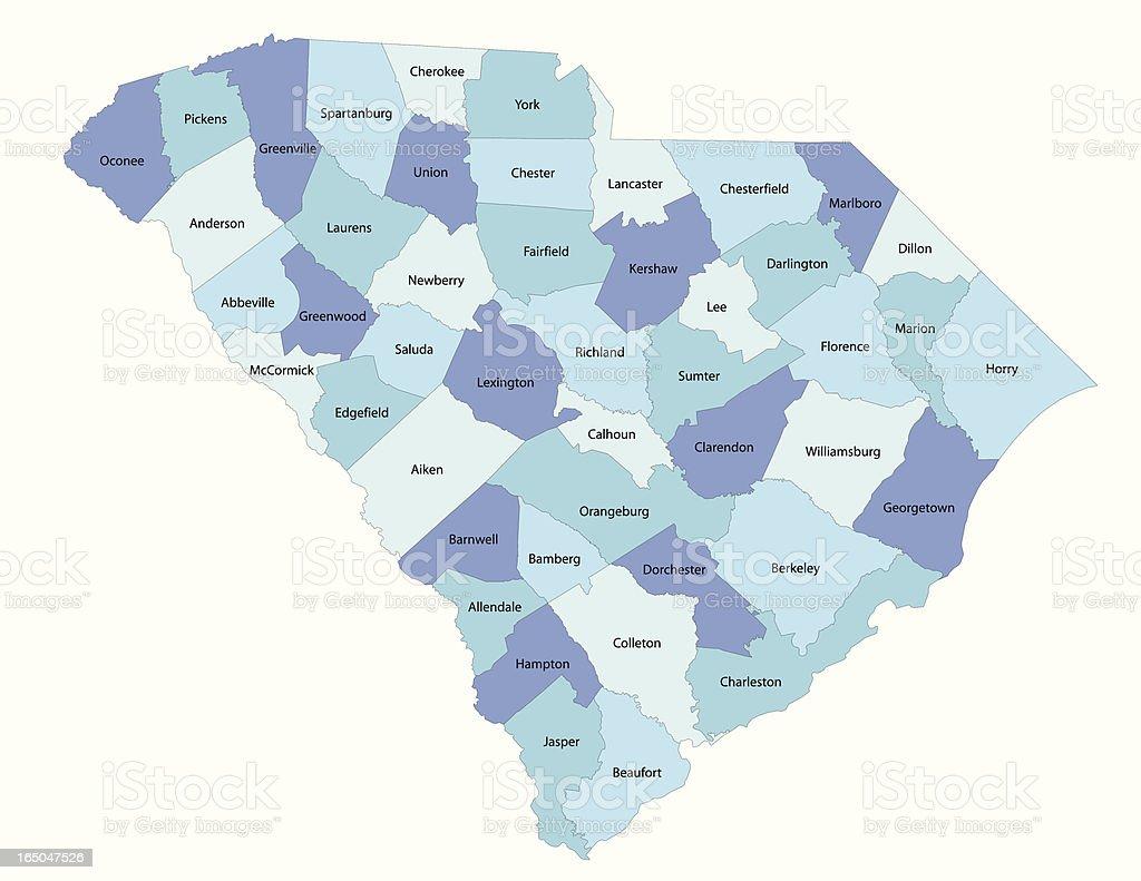 South Carolina state - county map vector art illustration