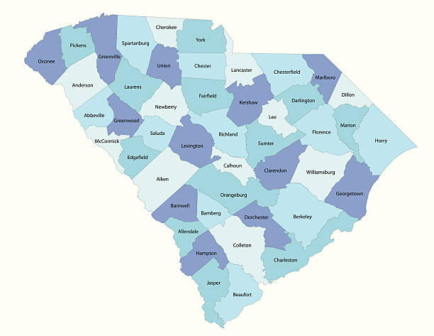 South Carolina state - county map Detailed state-county map of South Carolina. This file is part of a series of state/county maps.  Each file is constructed using multiple layers including county borders, county names, and a highly detailed state silhouette. Each file is fully customizable with the ability to change the color of individual counties to suit your needs.  Zip contains both .AI_CS2 and .ESP_8.0 as well as a large JPEG file.  Map generated using data from the public domain.  (http://www.census.gov/geo/www/tiger/) Traced using Adobe Illustrator CS2 on 7/28/2006. 3 data layers. south carolina stock illustrations