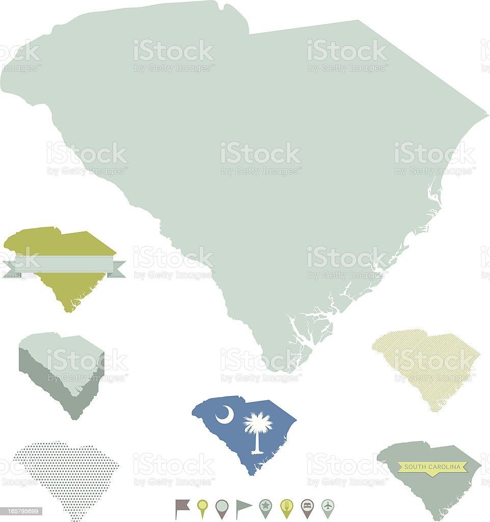 South Carolina State Maps vector art illustration