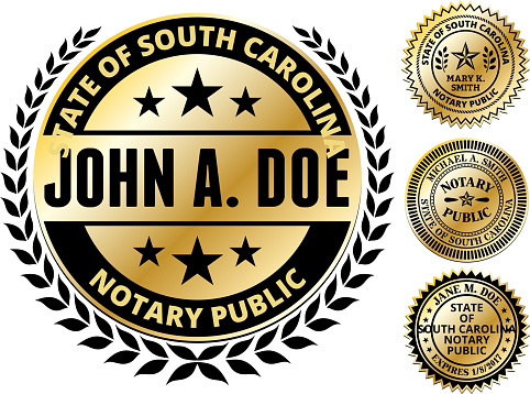 South Carolina State Notary Public Seal In Gold Stock ...