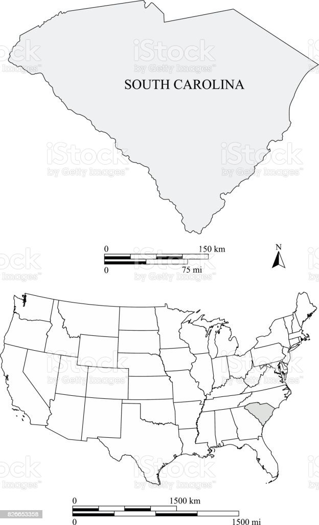 South Carolina State Of Usa Map Vector Outlines With Scales Of