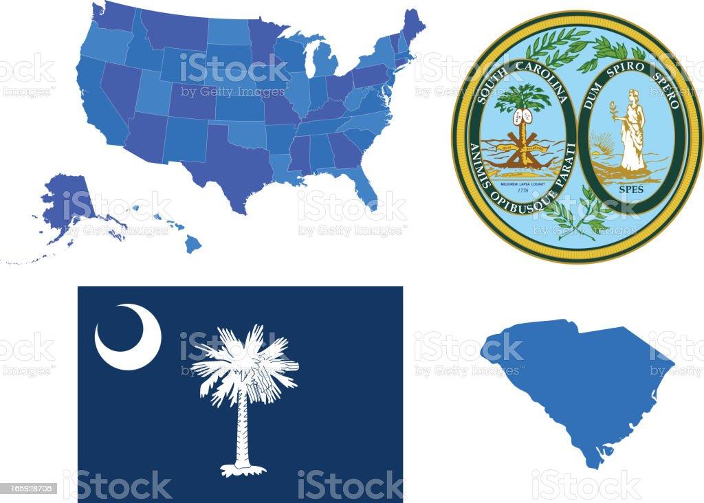South Carolina state set vector art illustration