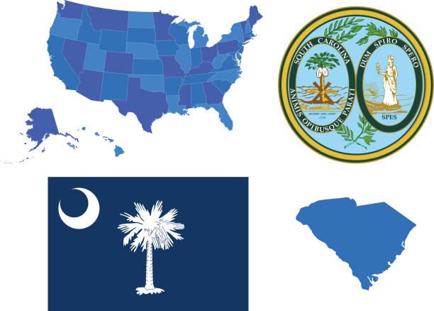 South Carolina state set Vector illustration of South Carolina state, contains: south carolina stock illustrations