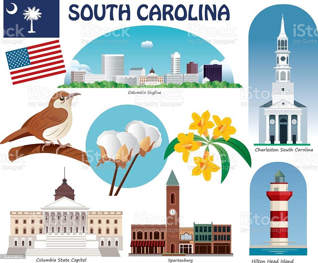 South Carolina Symbols Stock Vector Art More Images Of Business
