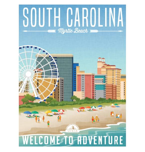 South Carolina travel poster or sticker. Vector illustration of Myrtle Beach with hotels, ferris wheel and people on the beach. South Carolina travel poster or sticker. Vector illustration of Myrtle Beach with hotels, ferris wheel and people on the beach. south carolina stock illustrations