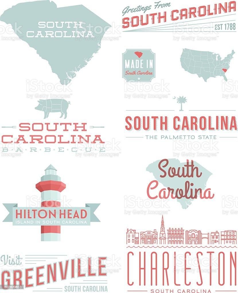 South Carolina Typography vector art illustration