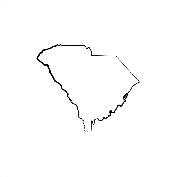 South Carolina Outline of a state map south carolina stock illustrations