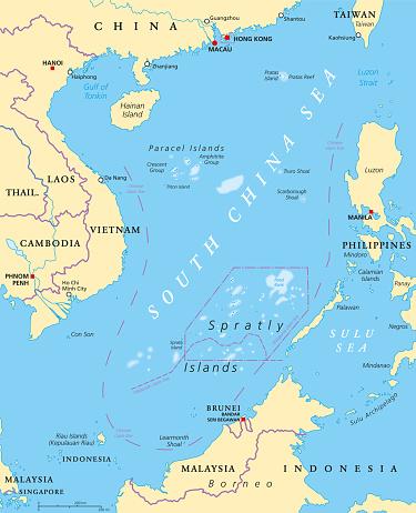 South China Sea Islands Politische Karte Stock Vektor Art