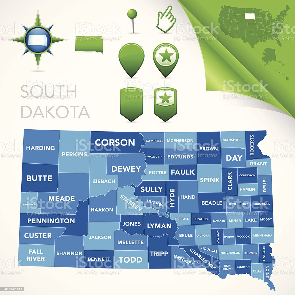 South Dakota County Map vector art illustration