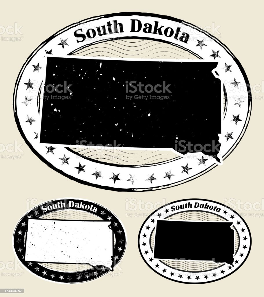 South Dakota Grunge Map Black & White Stamp Collection vector art illustration