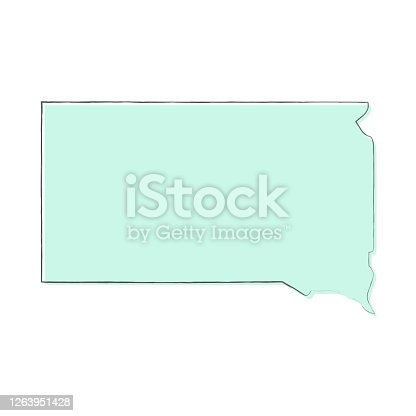Map of South Dakota sketched and isolated on a blank background. The map is blue green with a black outline. Vector Illustration (EPS10, well layered and grouped). Easy to edit, manipulate, resize or colorize.
