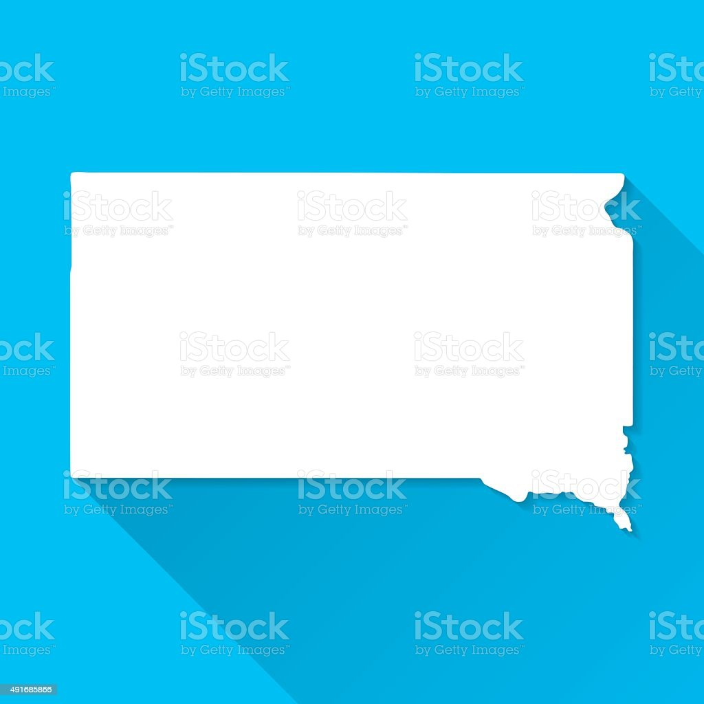 South Dakota Map on Blue Background, Long Shadow, Flat Design vector art illustration