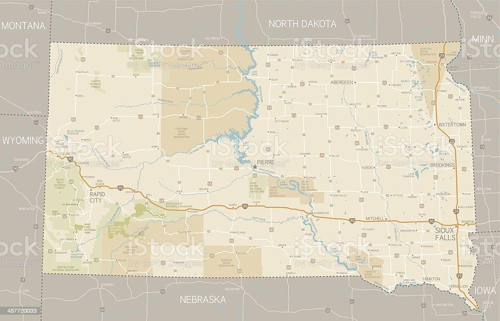 Badlands Nebraska Map.South Dakota Map Stock Vector Art More Images Of Badlands National