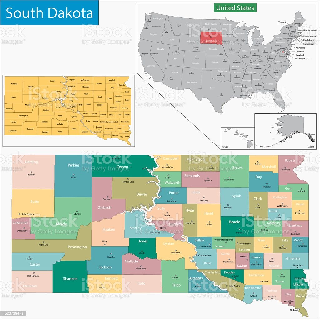 South Dakota map vector art illustration
