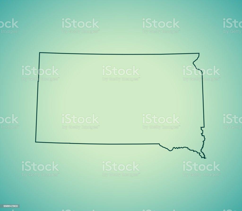 South Dakota Map Stock Vector Art & More Images of Cartography ...