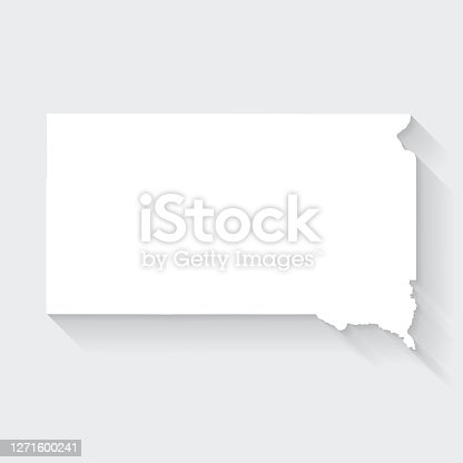 White map of South Dakota isolated on a gray background with a long shadow effect and in a flat design style. Vector Illustration (EPS10, well layered and grouped). Easy to edit, manipulate, resize or colorize.
