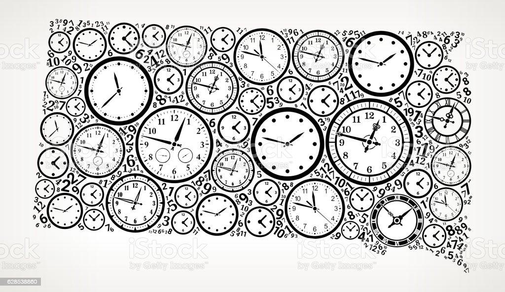 South Dakota On Time And Clock Vector Icon Pattern Stock Vektor Art ...