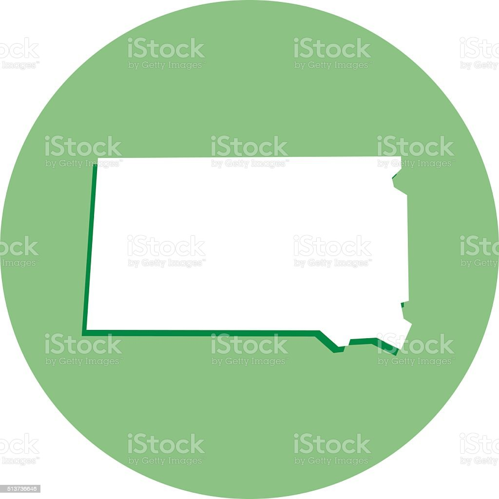 South Dakota Round Map Icon vector art illustration